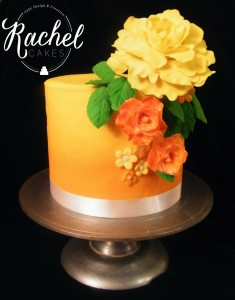 Orange with Peonies - Watermarked